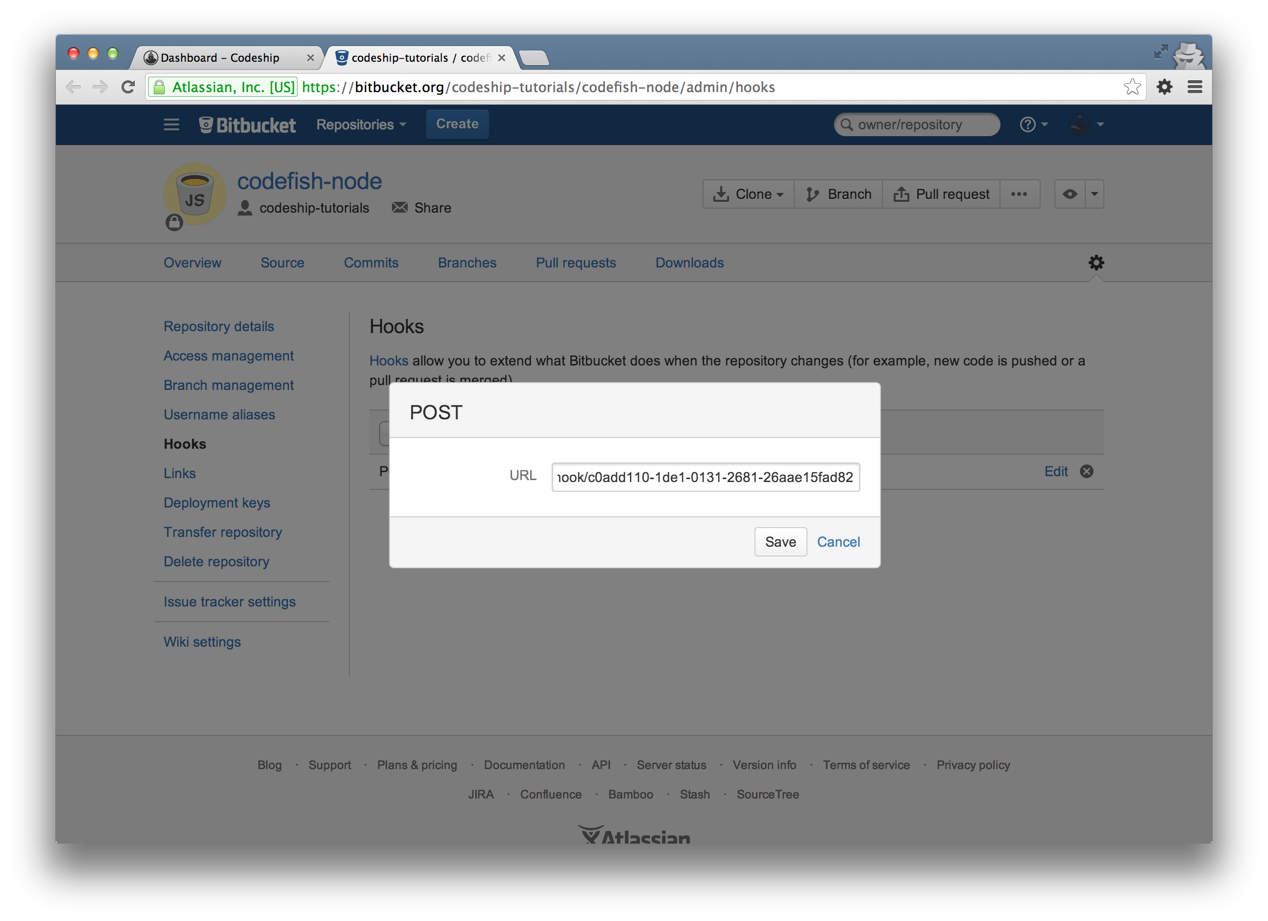 Bitbucket paste hook URL