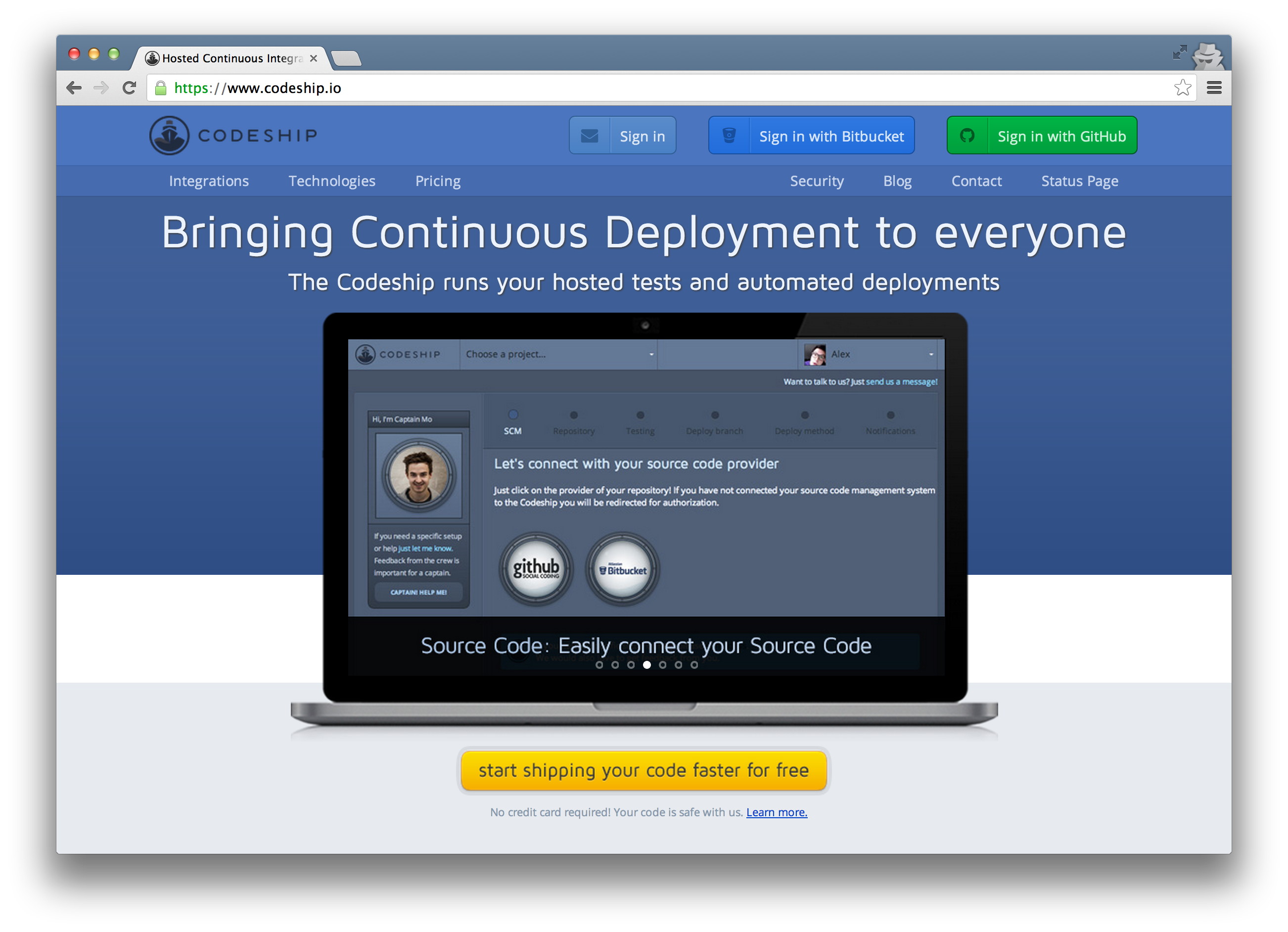 The Codeship Landing Page