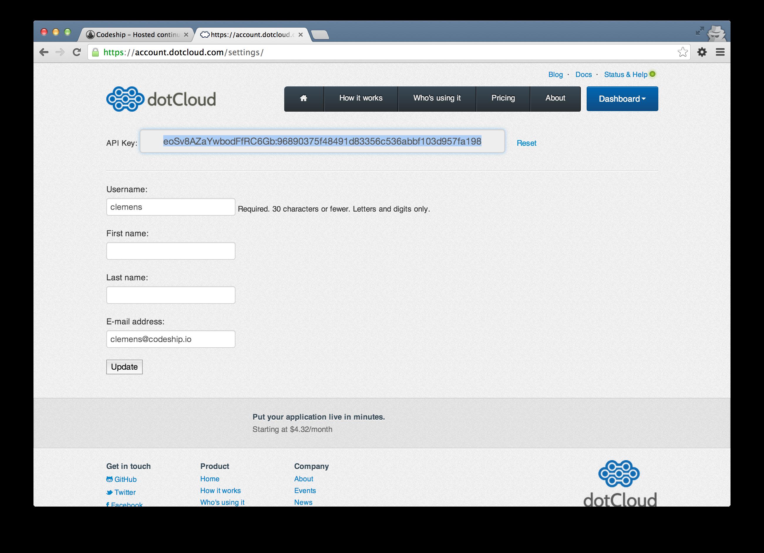 Dotcloud API key