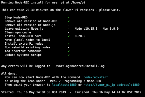 node-red Installation Ende