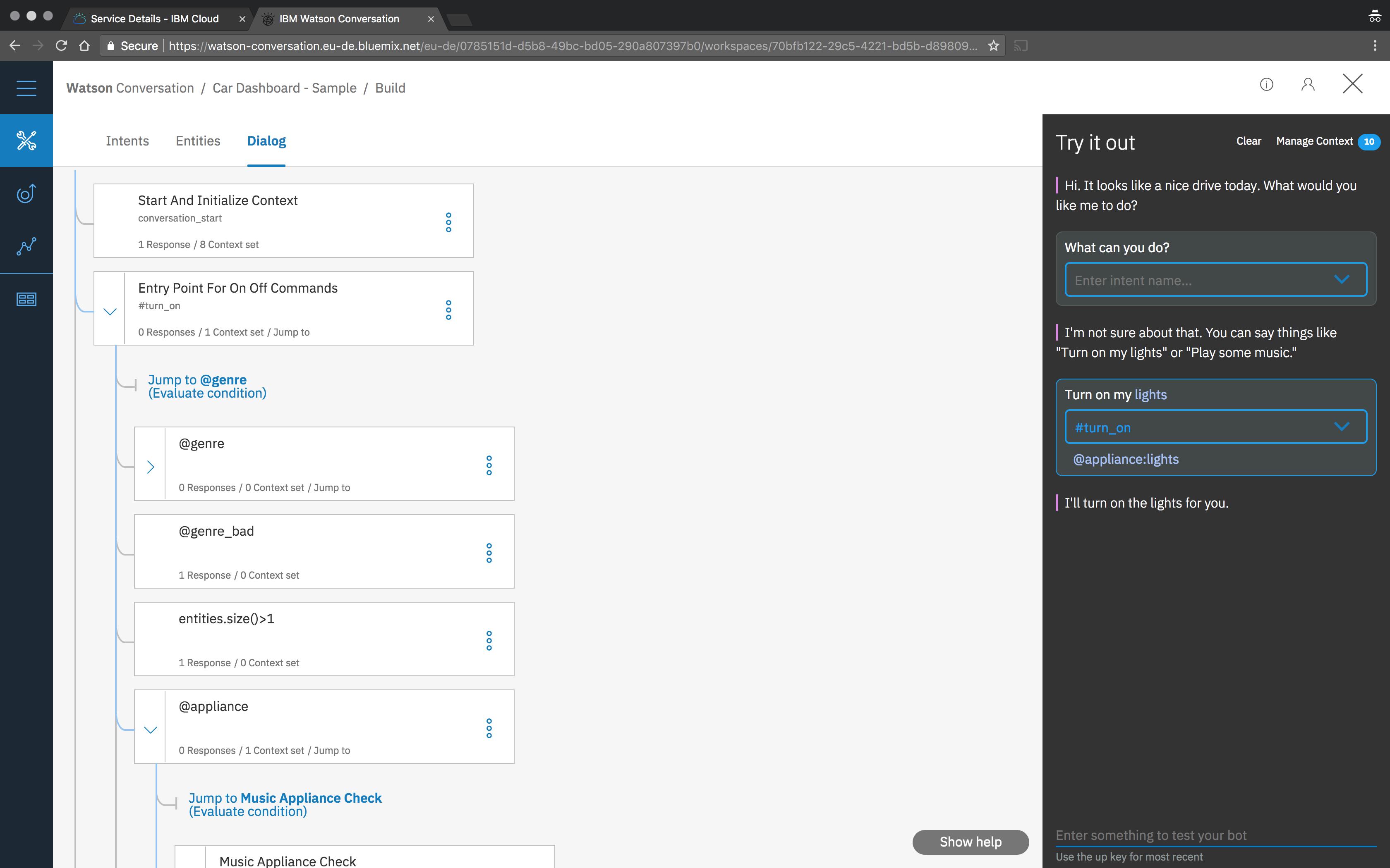 A Watson Conversation Service workspace
