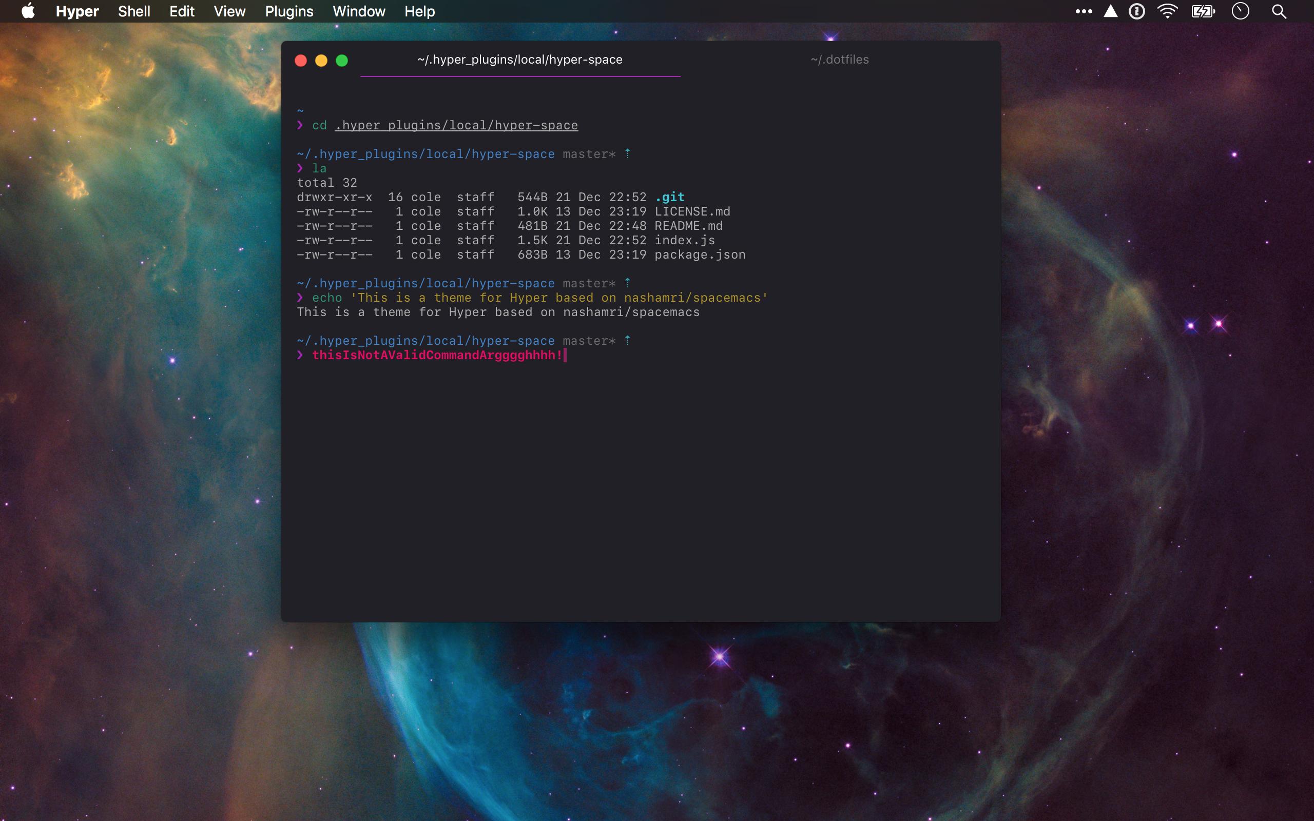 A preview of the hyper-space colour scheme