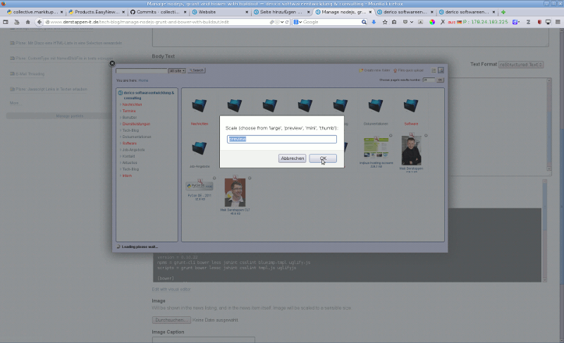 MarkItUp Editor with finder integration, to choose images from Plone.
