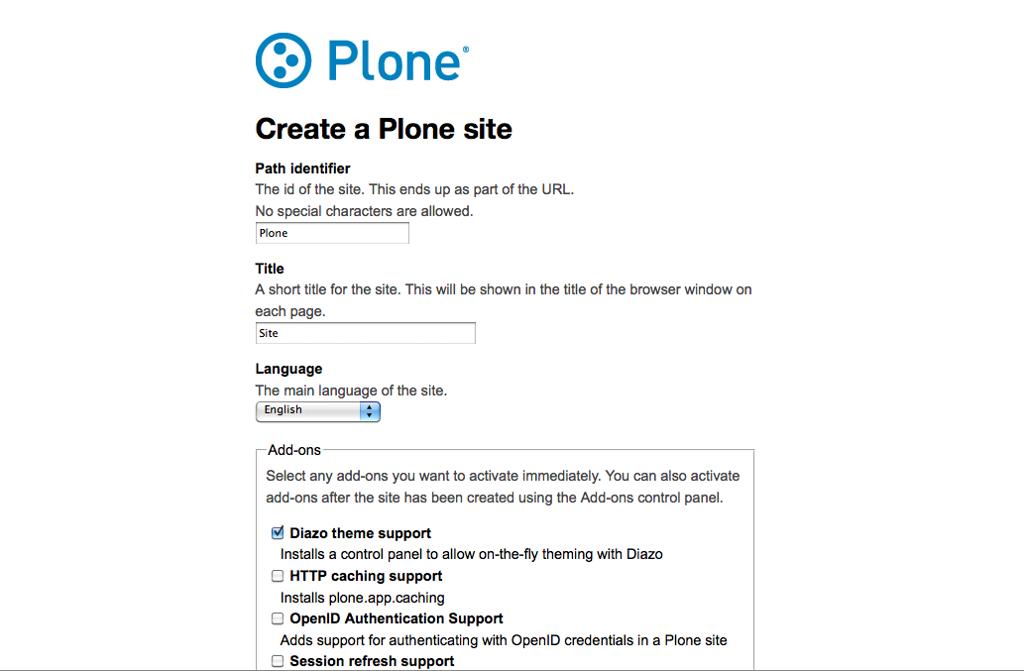 Create a Plone site from ZMI