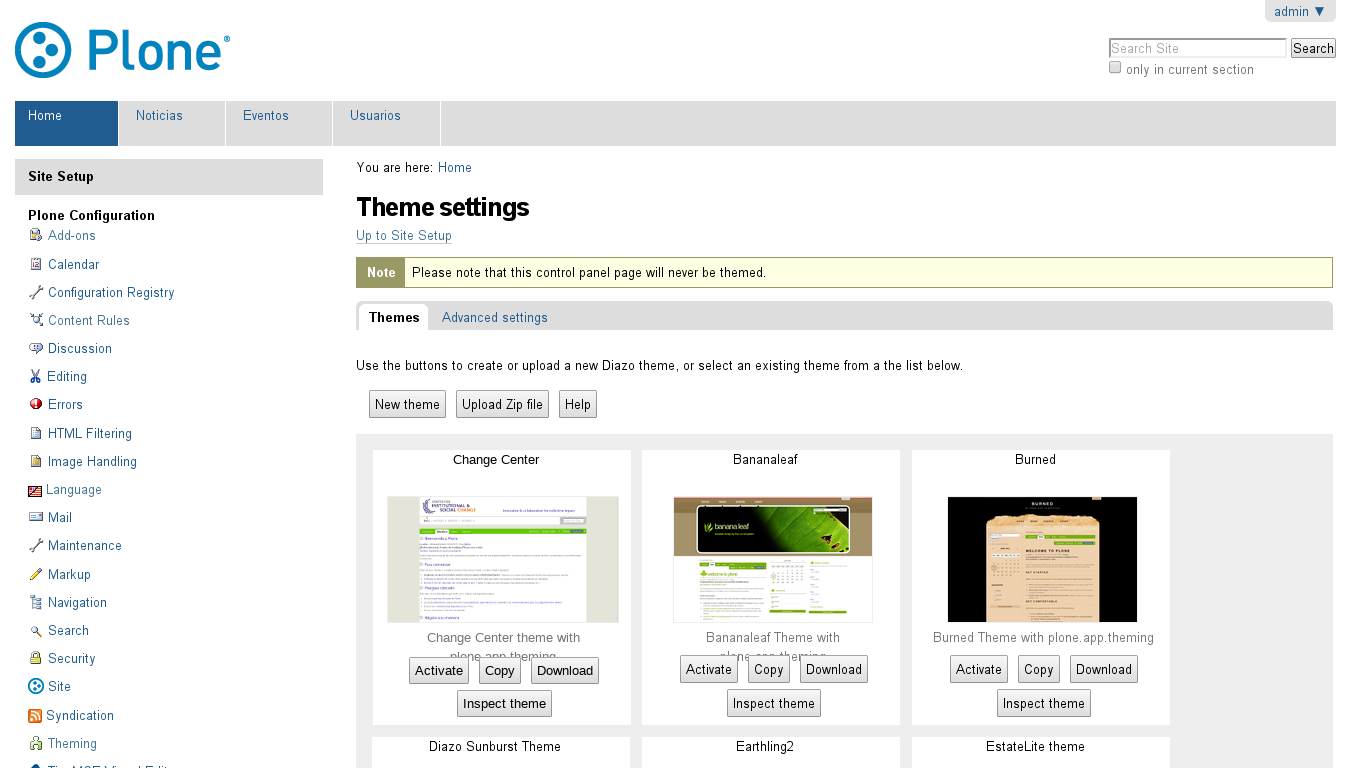 For select the Diazo theme just click on Activate button