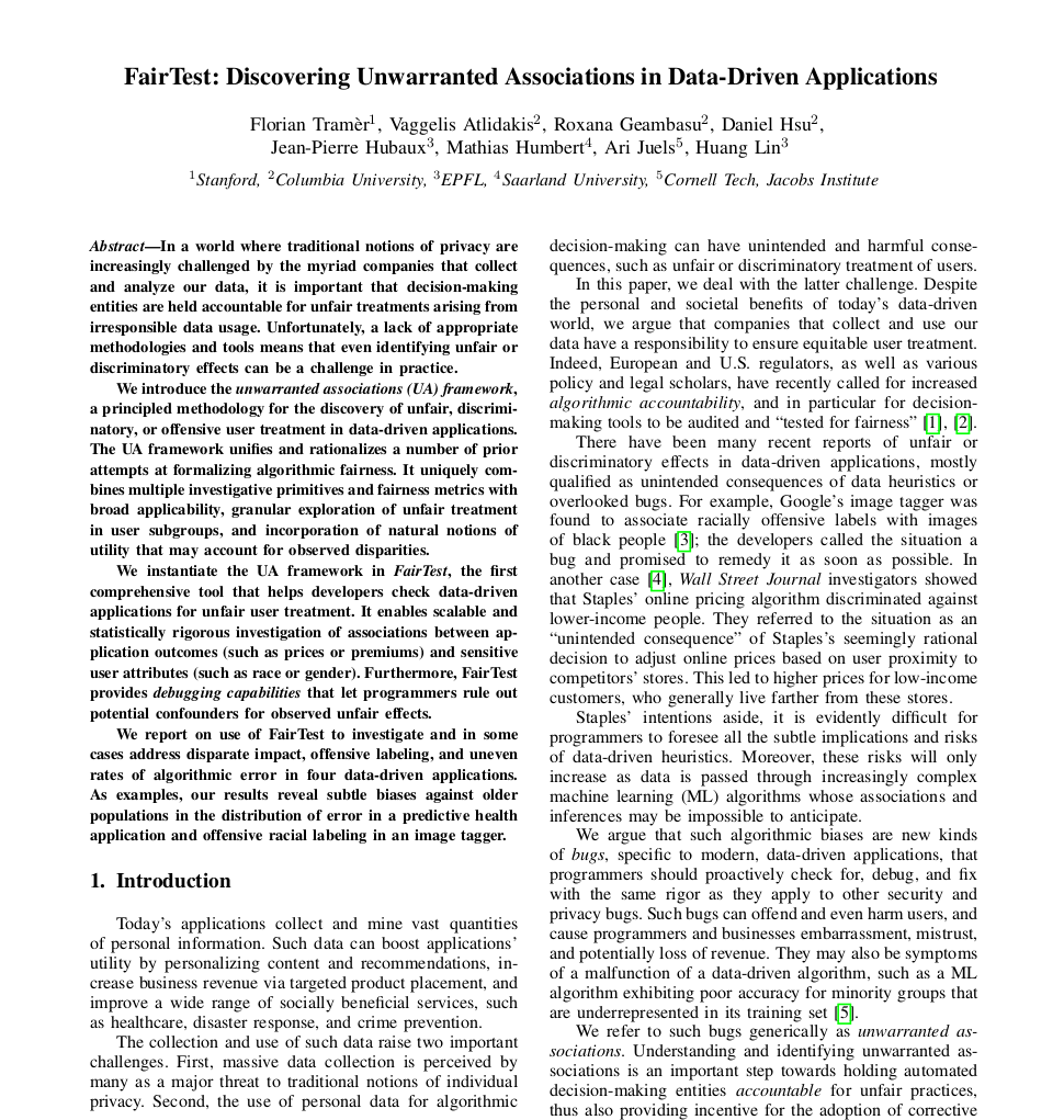 FairTest: Discovering Unwarranted Associations in Data-Driven Applications