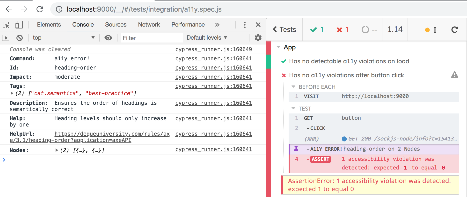 Cypress and DevTools output for passing and failing axe-core audits