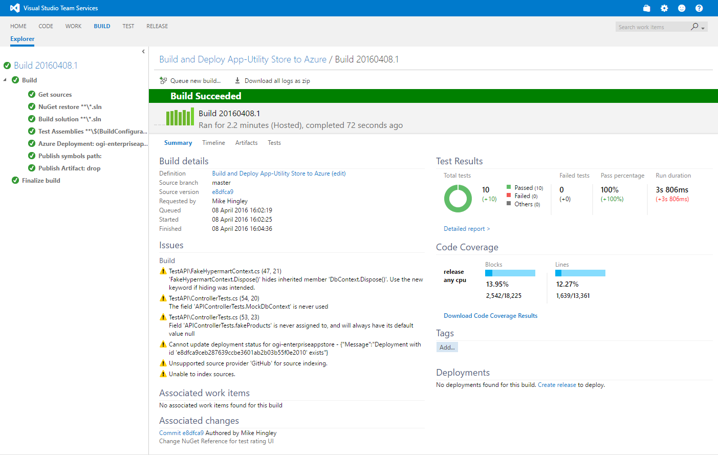 Build results from Visual Studio Team Services