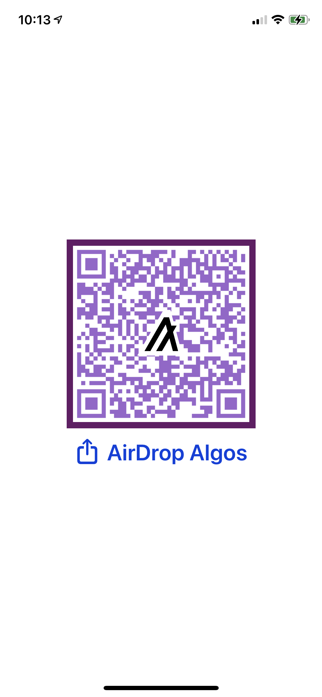 Sample AlgorandURI AirDrop