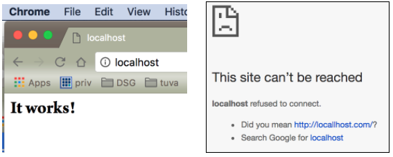 Right Screenshot: It works! Left screenshot: This site can't be reached...
