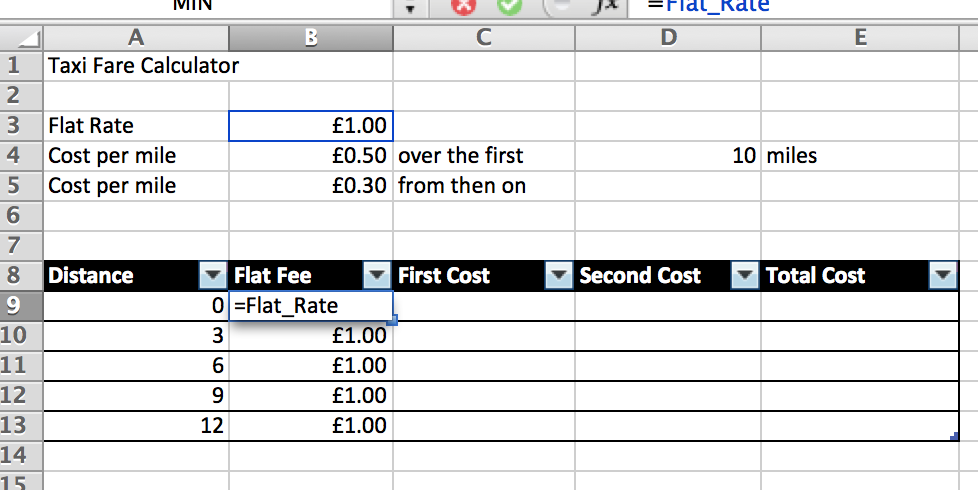 Excel Calculating Flat Rate