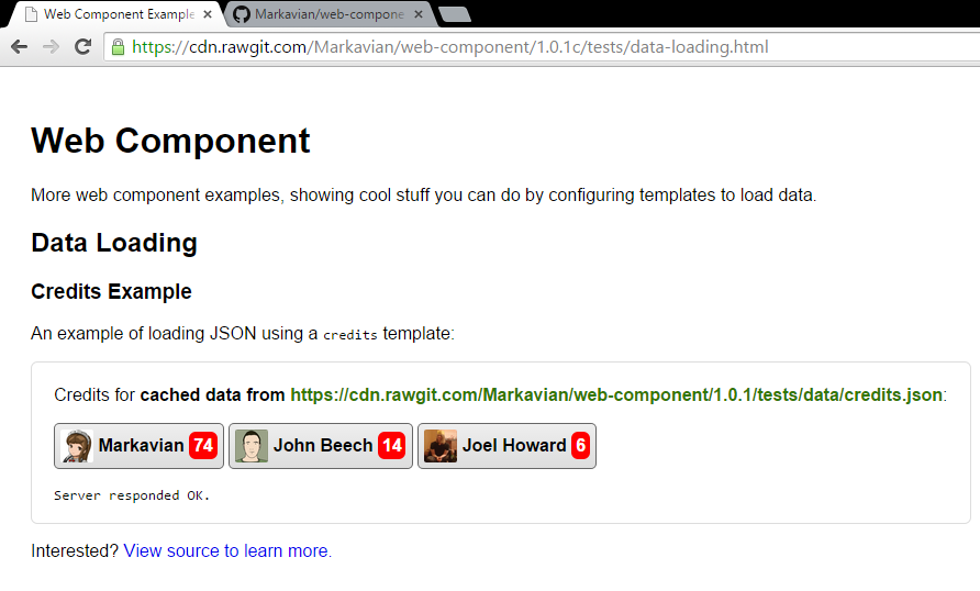 Web Component Data Loading Example