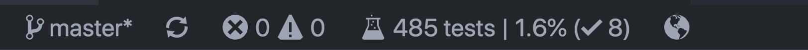 A screenshot of the status bar item while running
