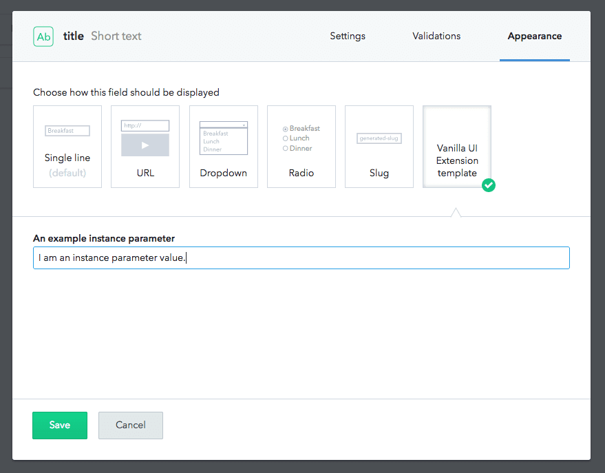 Screenshot of params
