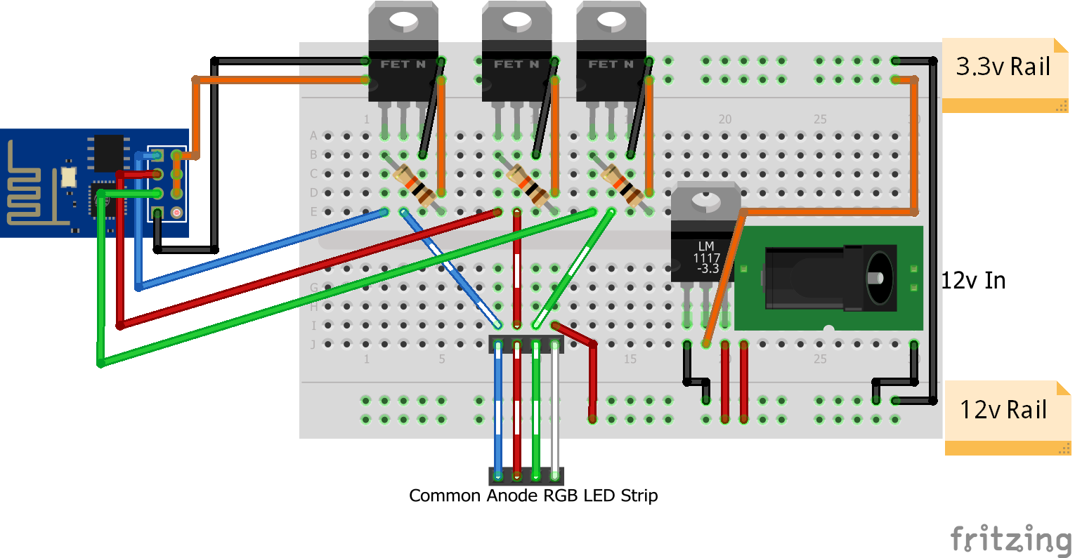 how to connect rgb led strip to arduino