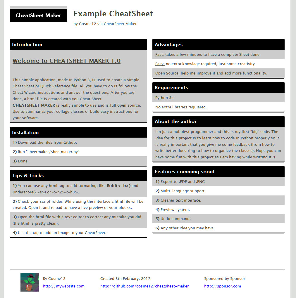 Cosme12/cheatsheet-maker: Cheetsheet (cheat Sheet
