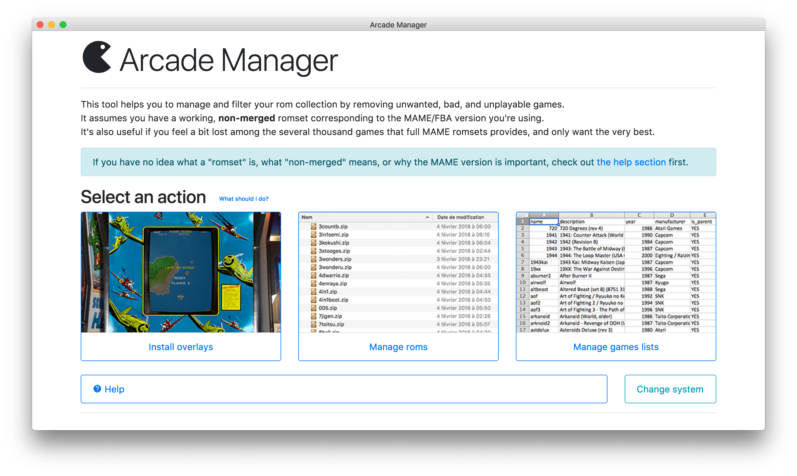Arcade Manager: install overlays and manage roms in a user