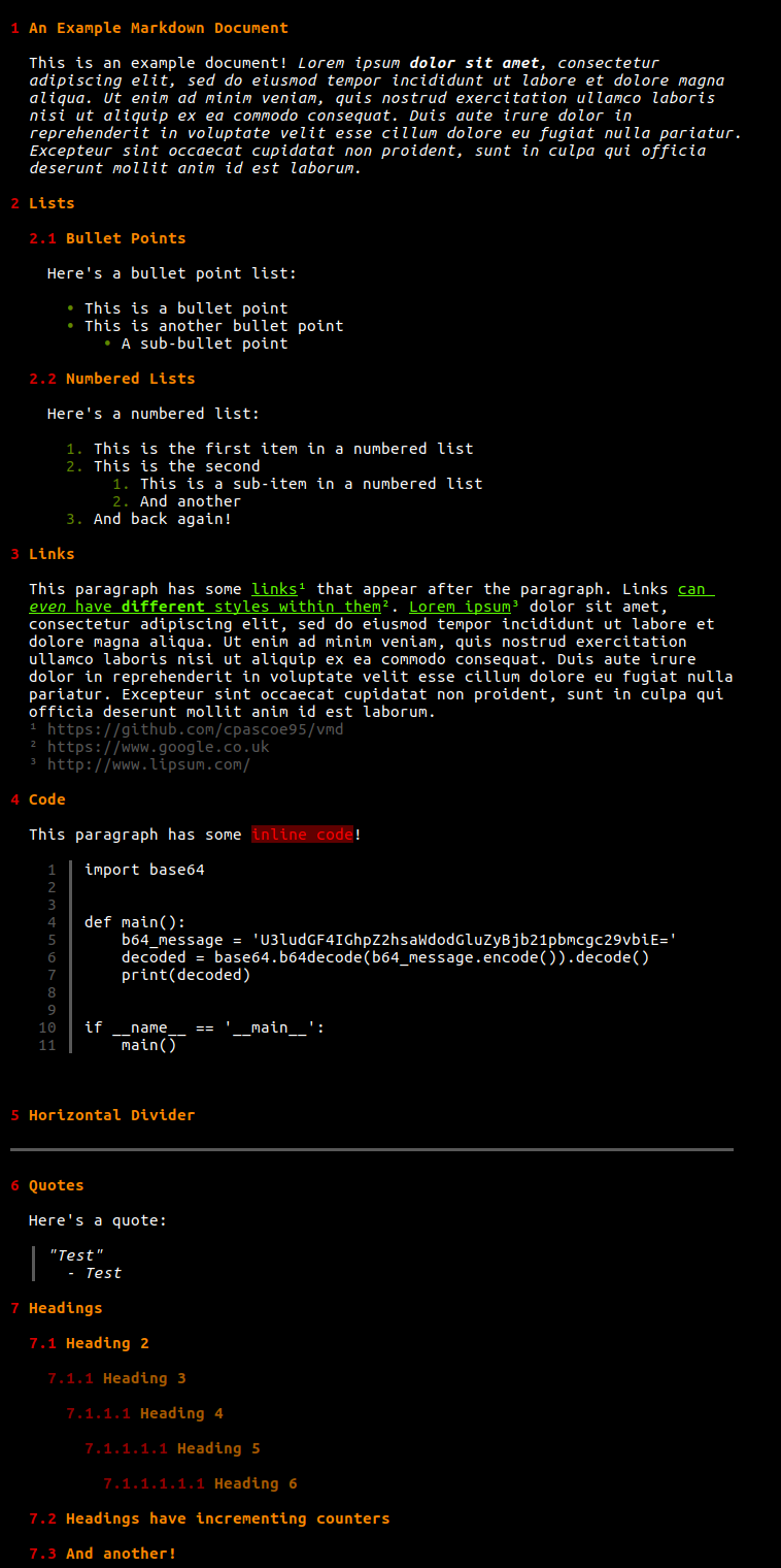 A screenshot displaying an example Markdown document, rendered using vmd