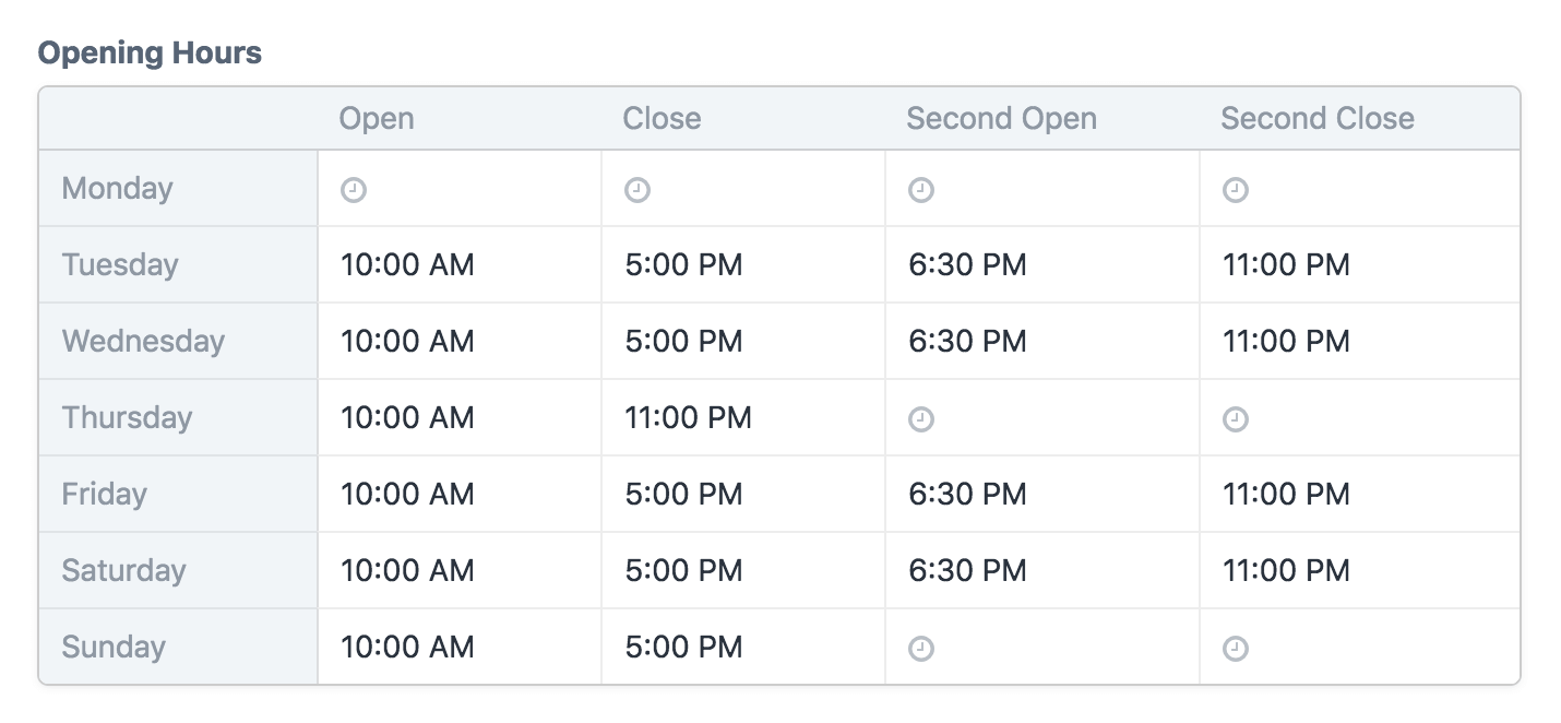 A Store Hours field with four custom time slots