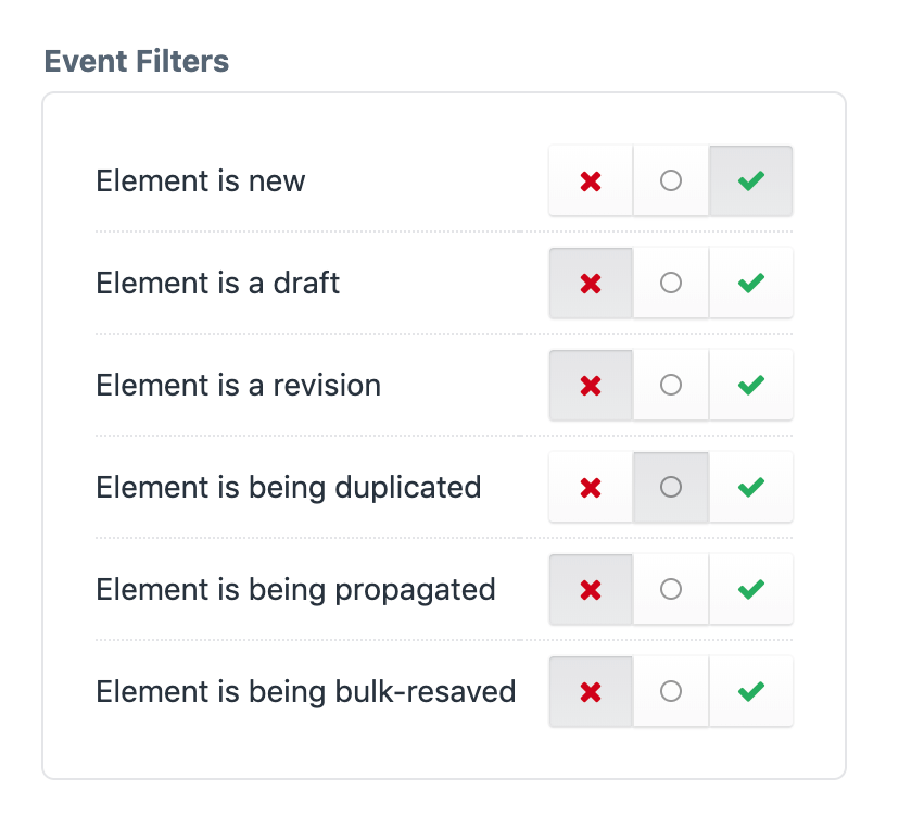 Screenshot of the Event Filters setting