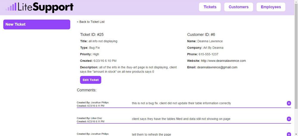 LiteSupport Ticket