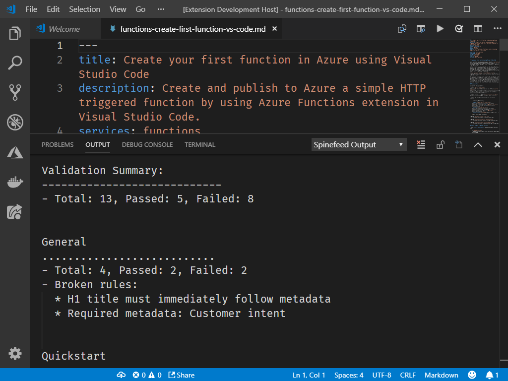 Spinefeed VS Code extension screenshot