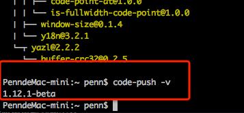 安装 CodePush CLI成功