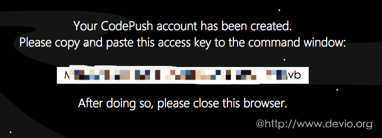 获取codepush access key