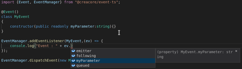 event-ts type support in Visual Studio Code