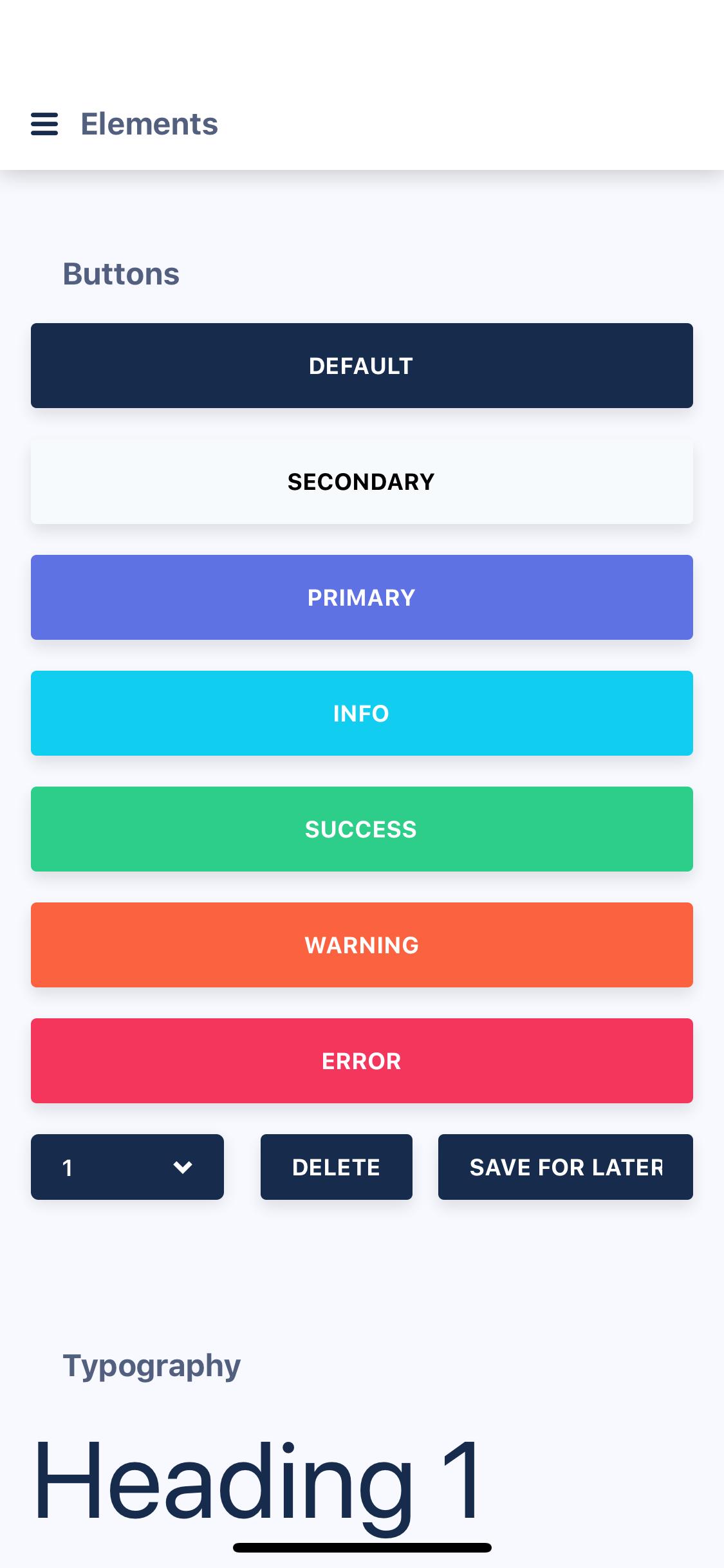 Elements Screen