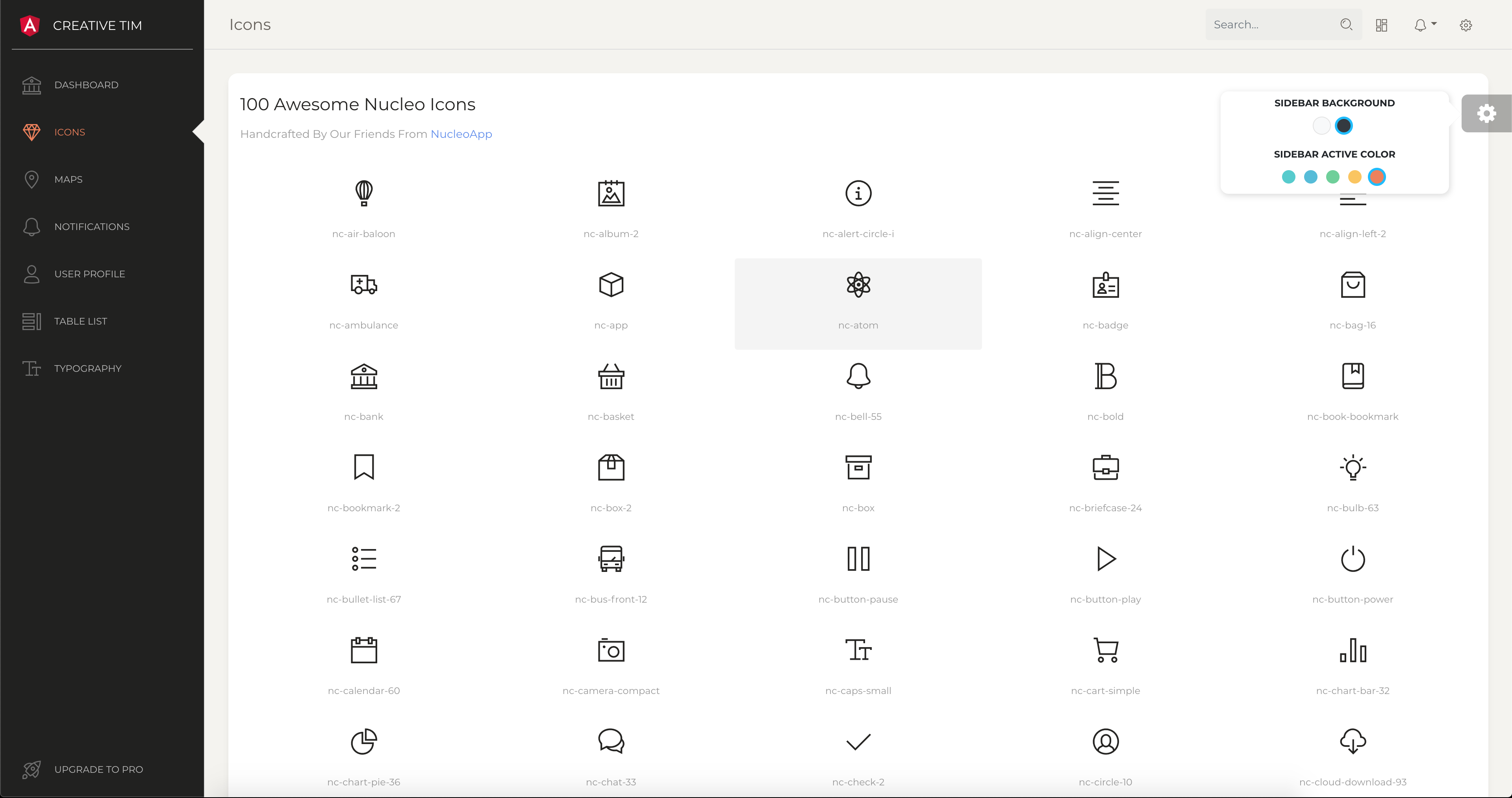 Icons Page