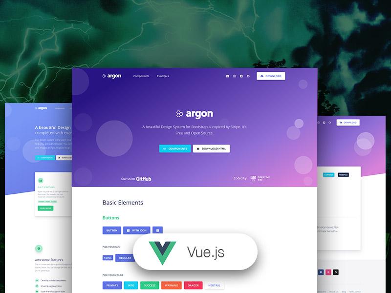 Vue Argon Design System - Free Vue.js Design System