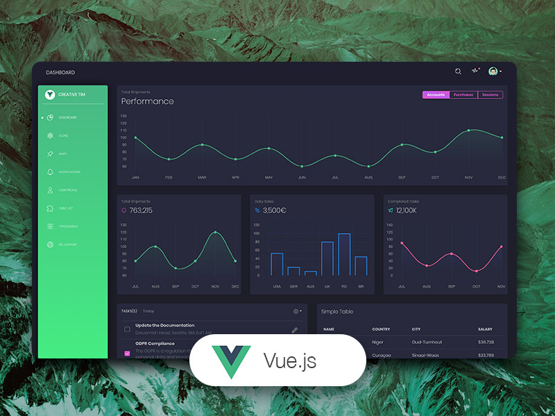 Vue Black Dashboard - Free Vue.js Admin Template