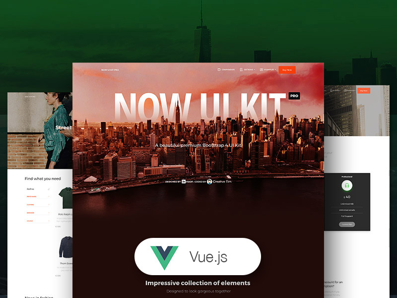 Vue Now UI Kit Pro - Premium Vue.js UI Kit