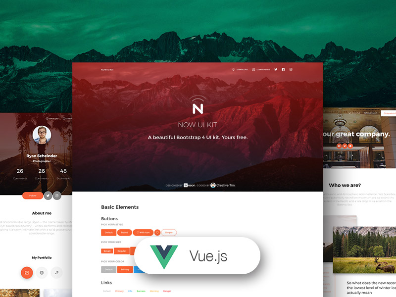 Vue Now UI Kit - Free Vue.js UI Kit