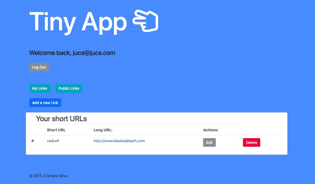 """Screenshot of URLS page"""