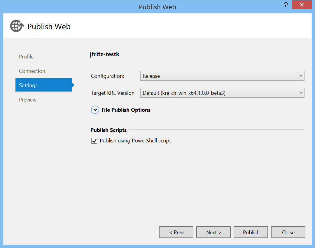 Publish Wizard Option