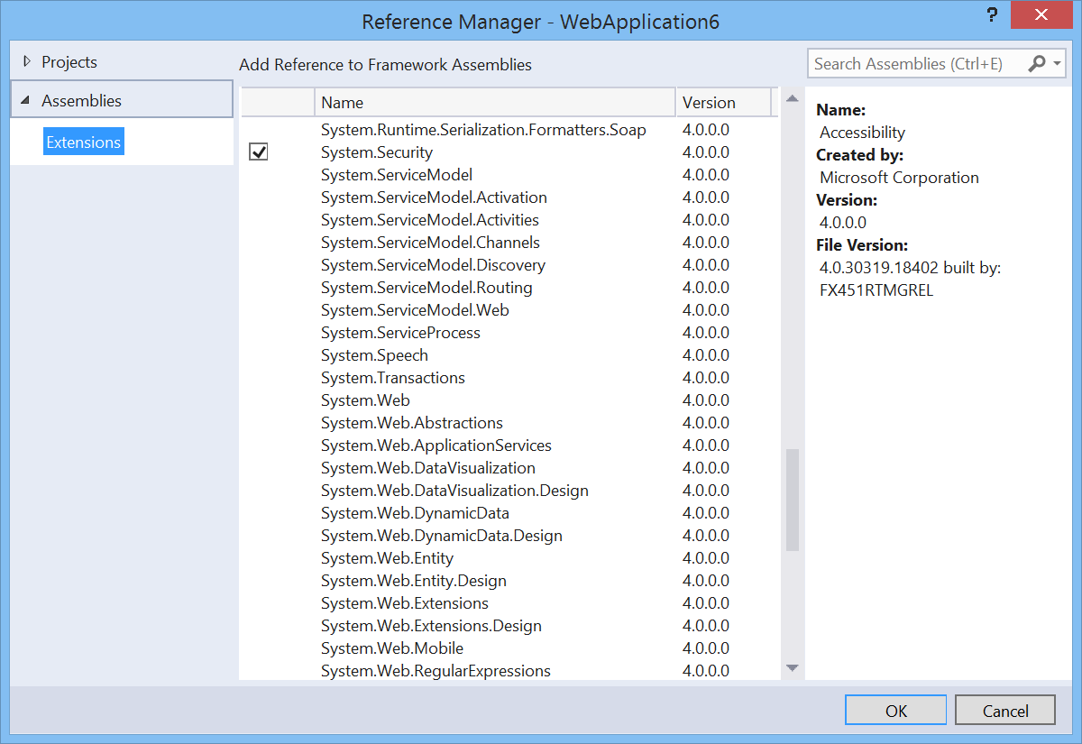 The re-instated Add System Reference to an ASP.NET project dialog