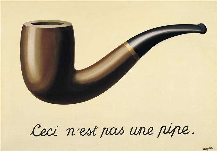 Reprodução do quadro La Trahison des images (Ceci n'est pas une pipe). do pintor René Magritte.