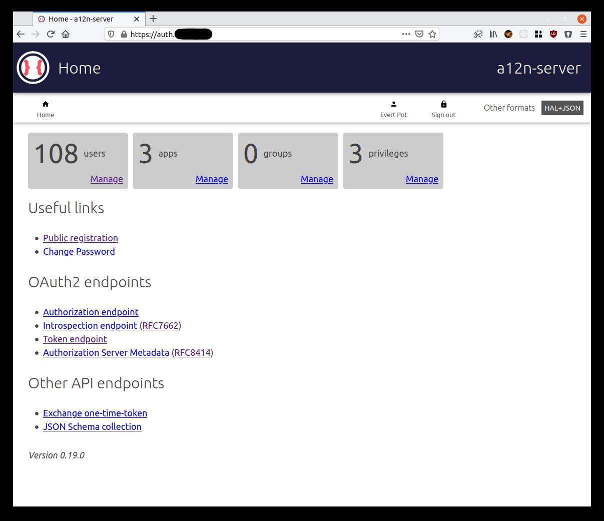a12n-server home screenshot