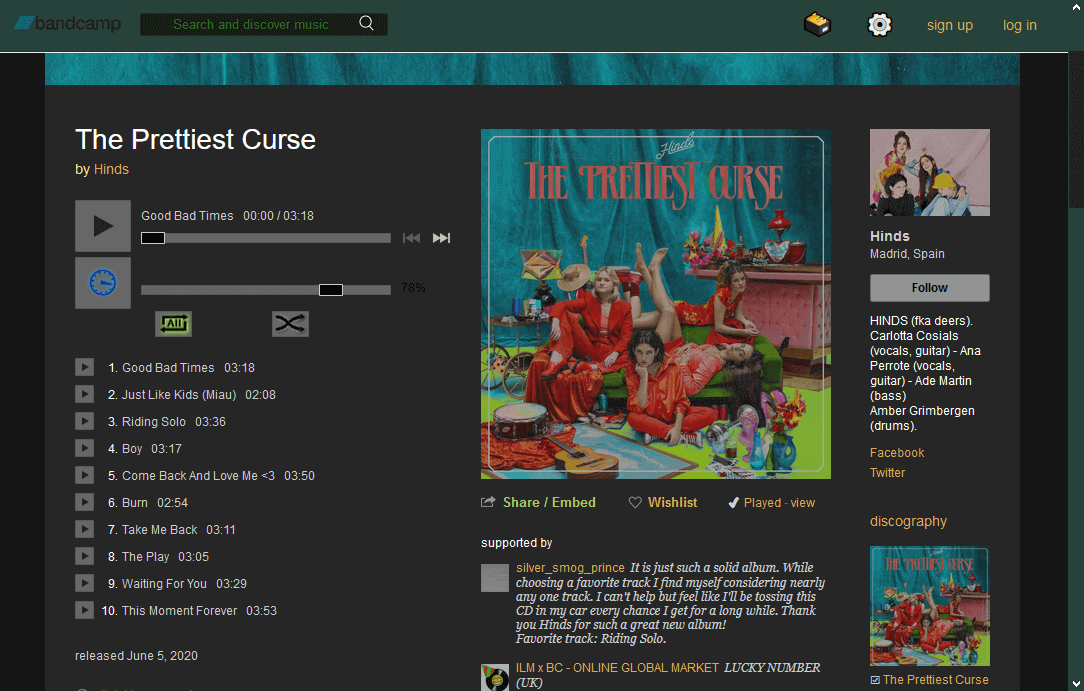 Screenshot of dark mode album page