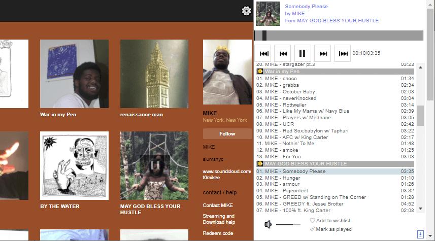 Screenshot of discography sidebar