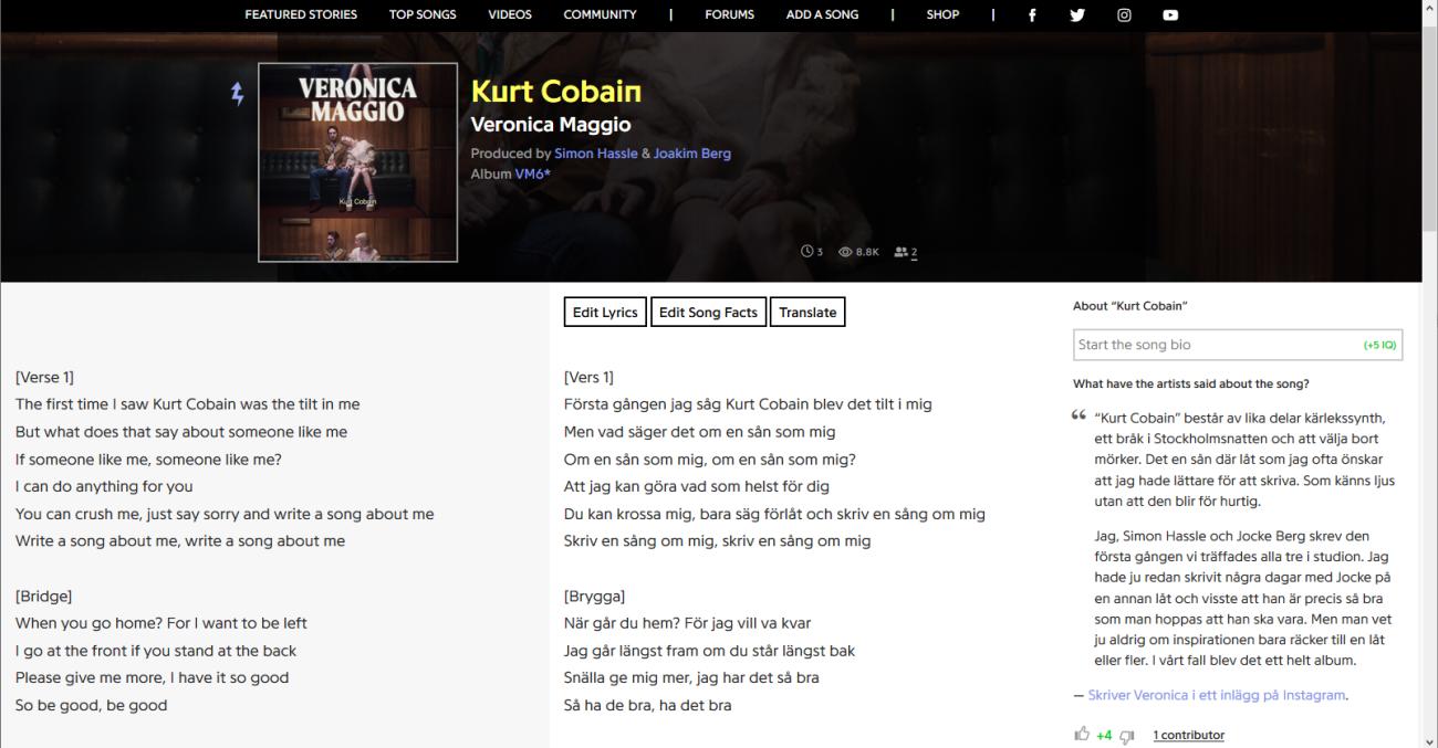 Screenshot of genius.com with translated lyrics
