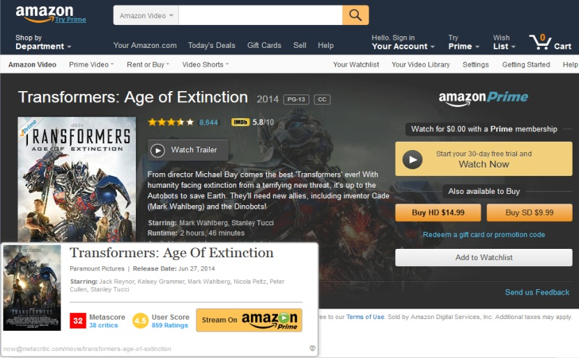 Screenshot of amazon product page