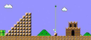 Super Mario Bros. stairs to flagpole