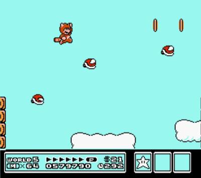 Super Mario Bros. 3 flying shells