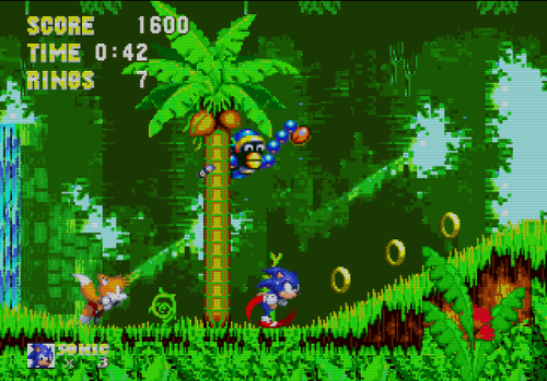 Sonic 3 monkey and collectible on tree