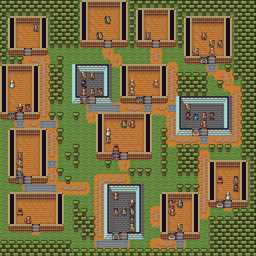 village with varied paths