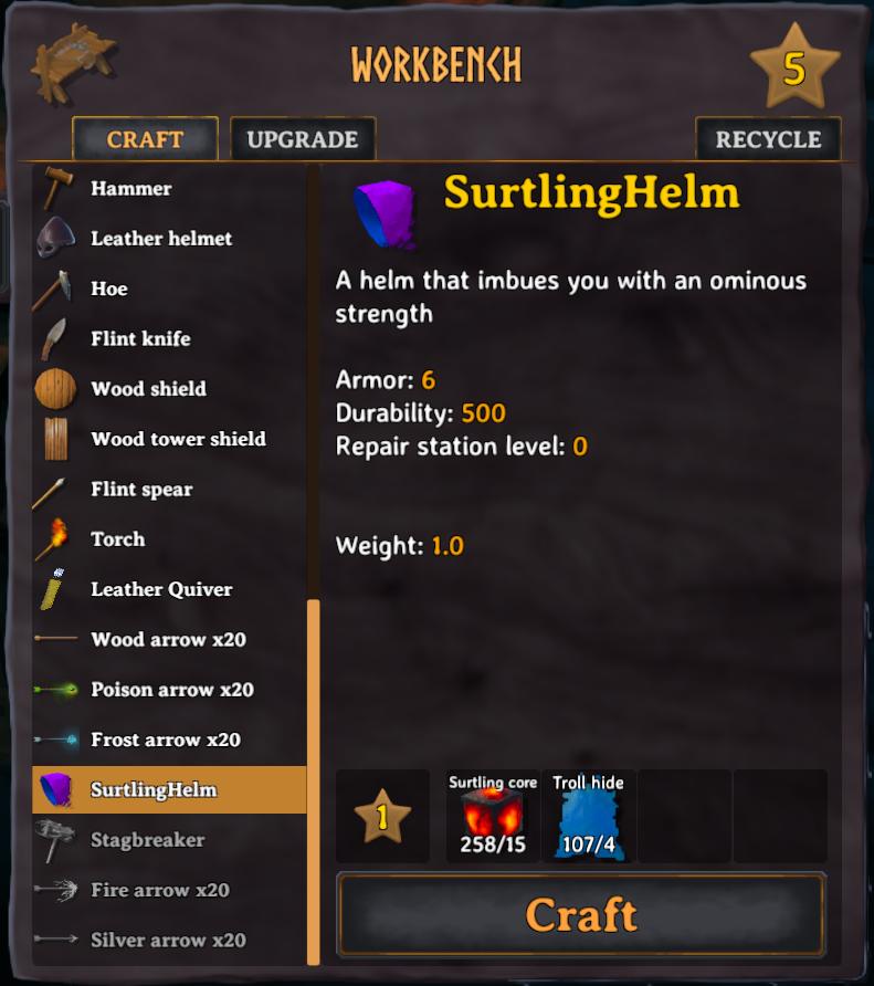 Surtling Helm in the crafting menu