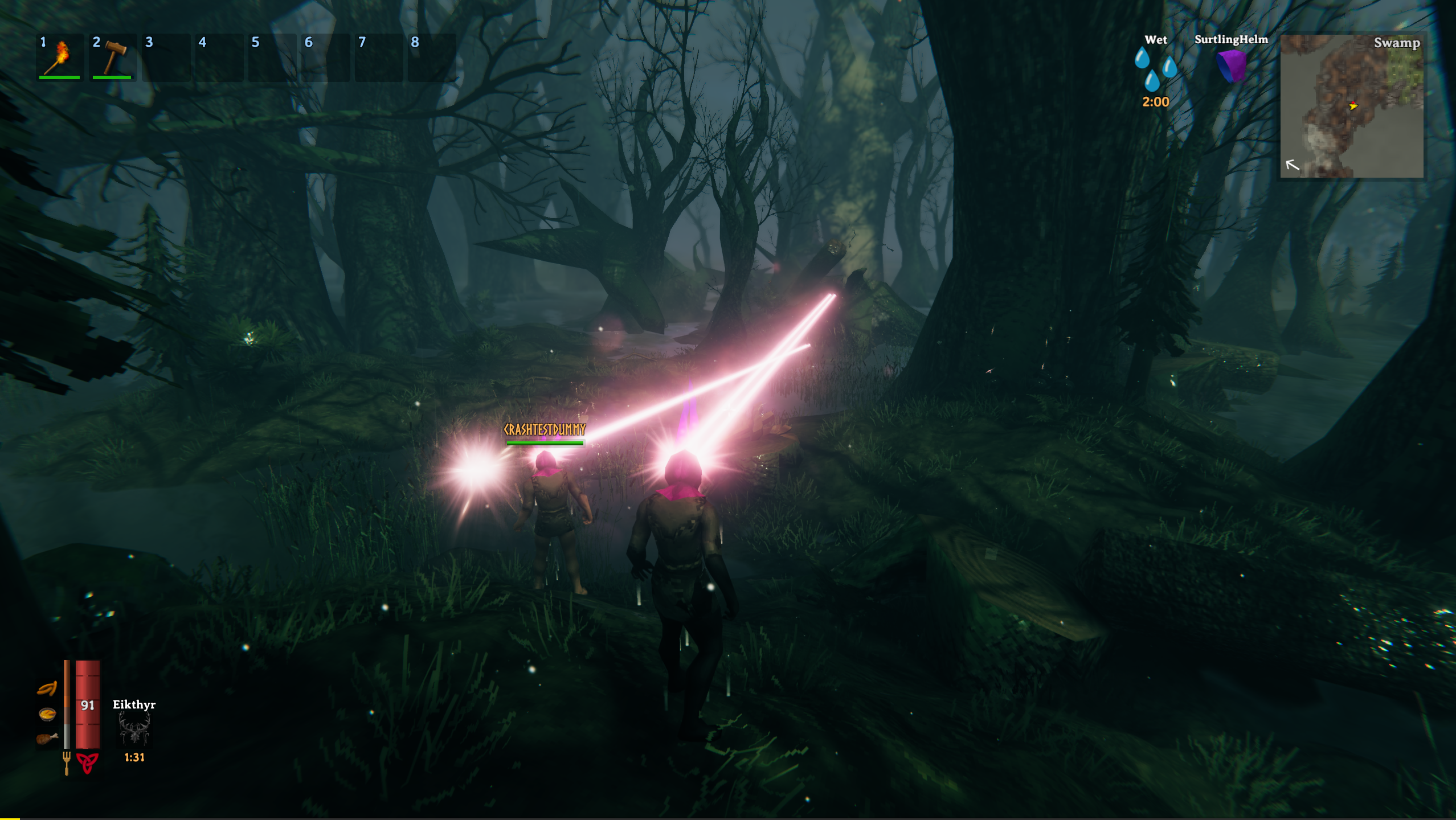 Two incredibly cool vikings with glowing helms lasering down enemies in a swamp